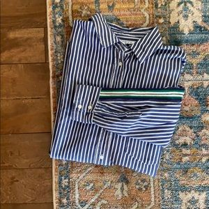 Zara Striped Button Down W/ Pleated Back